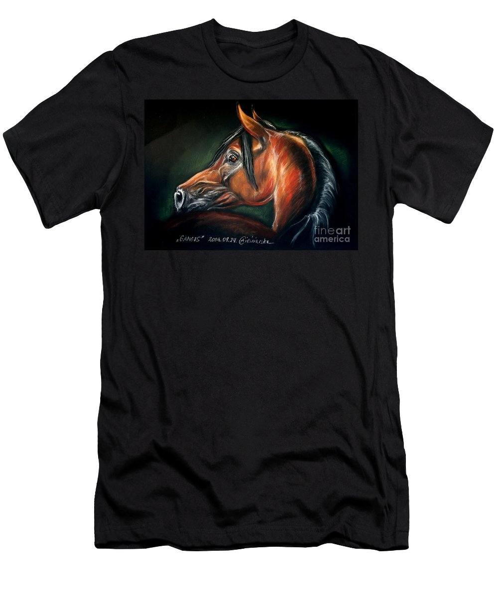 Horse Men's T-Shirt (Athletic Fit) featuring the drawing Ganges by Angel Ciesniarska