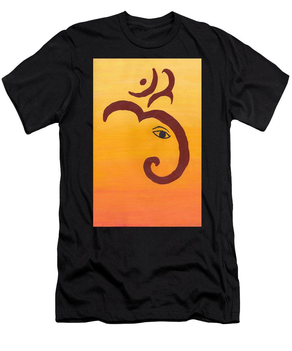 Ganpati Men's T-Shirt (Athletic Fit) featuring the painting Ganpati- Om by Melissa Vijay Bharwani