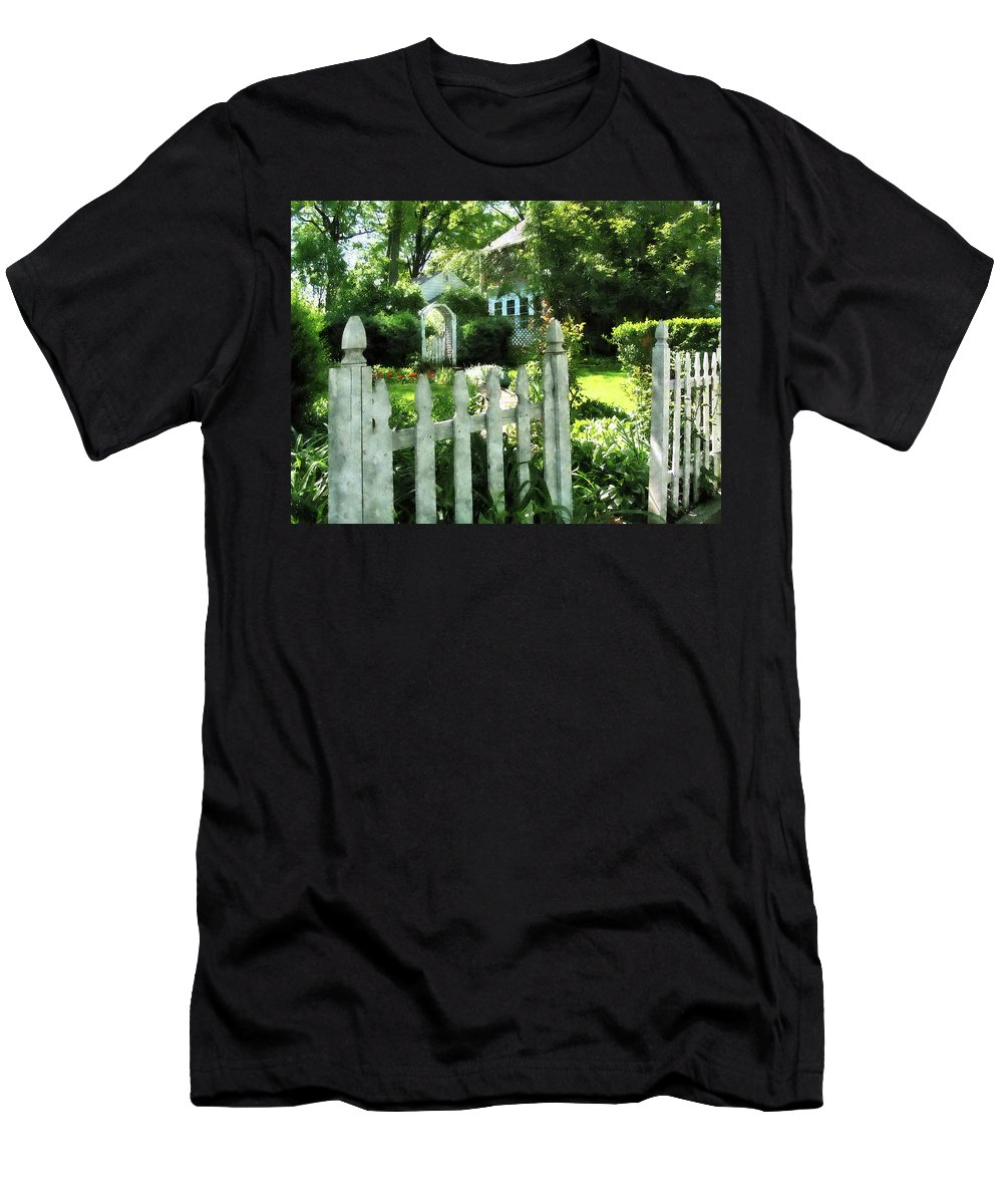 Garden Men's T-Shirt (Athletic Fit) featuring the photograph Garden Gate by Susan Savad