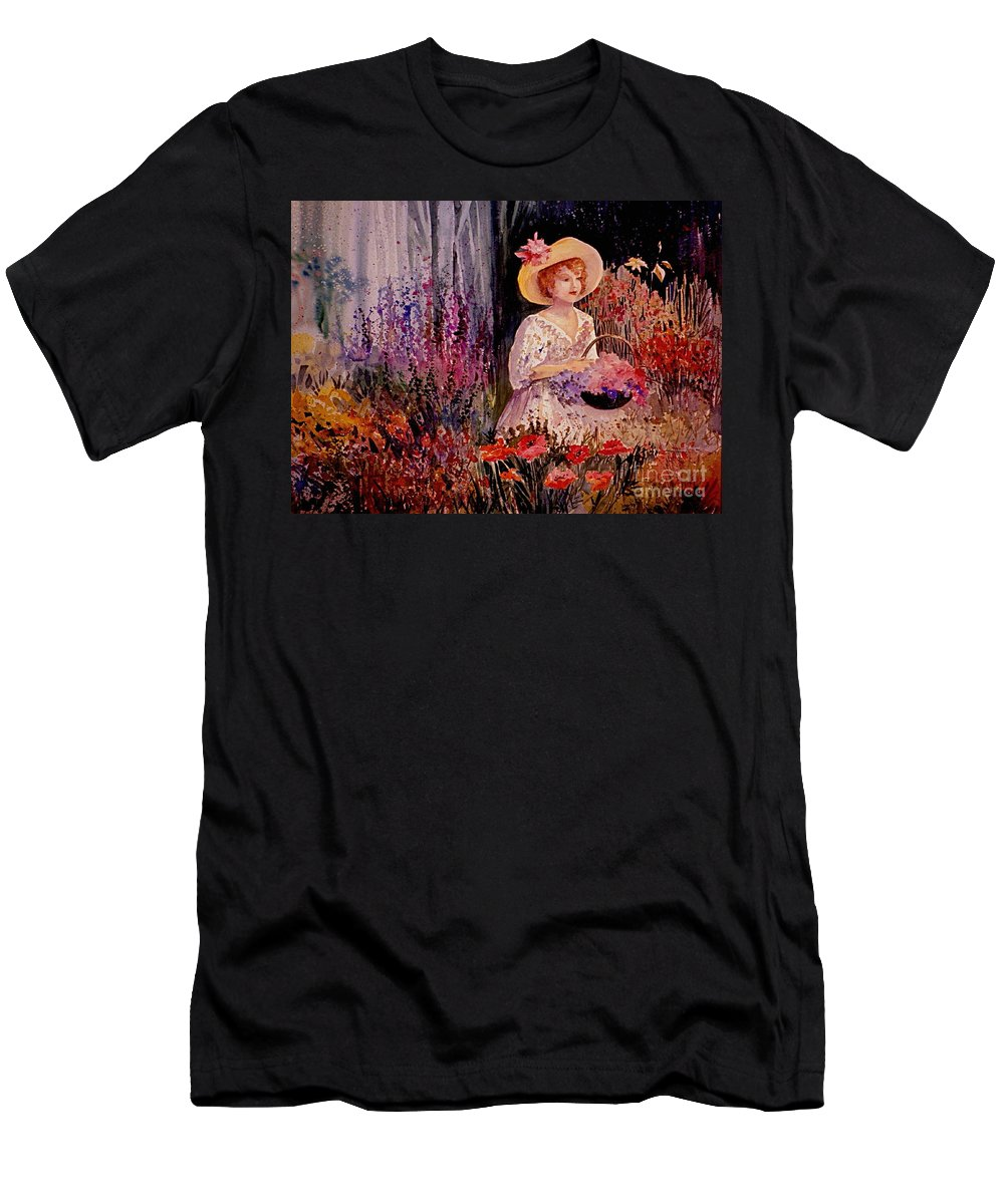 Garden Men's T-Shirt (Athletic Fit) featuring the painting Garden Girl by Marilyn Smith