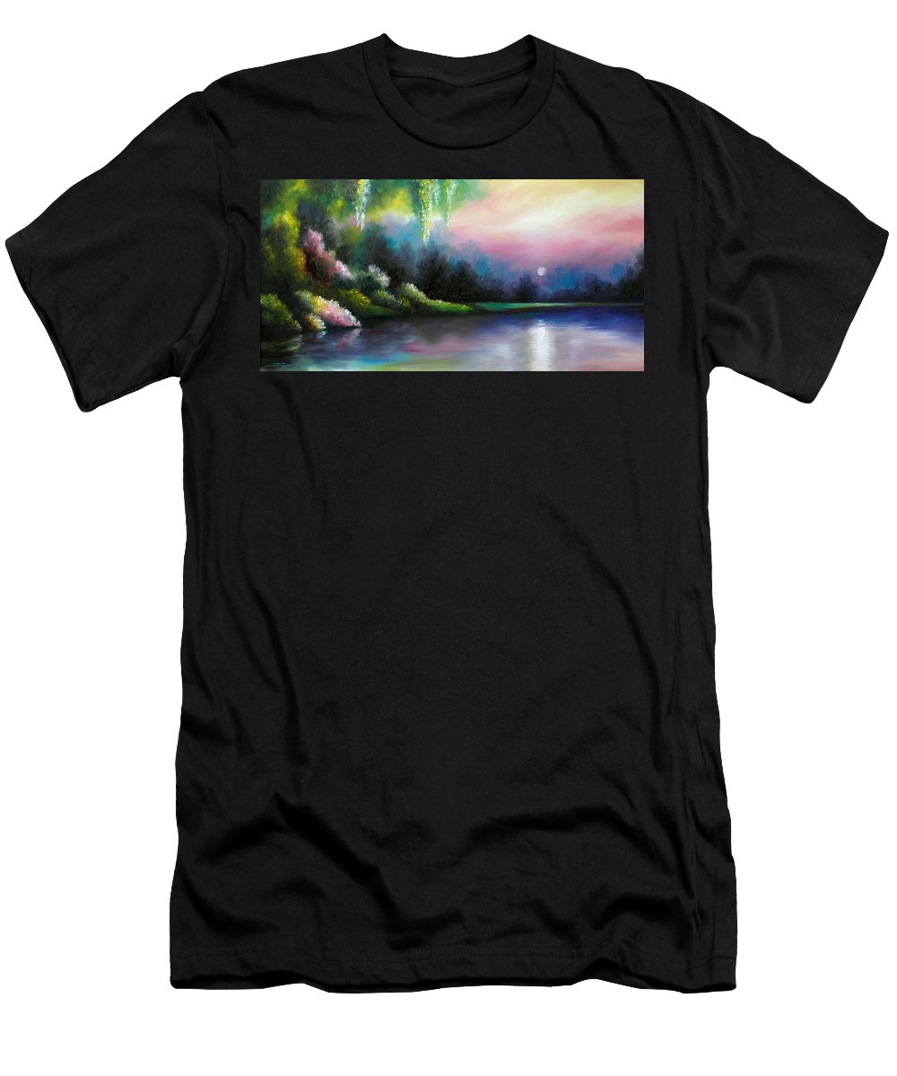 Sunrise Men's T-Shirt (Athletic Fit) featuring the painting Garden Of Eden I by James Christopher Hill