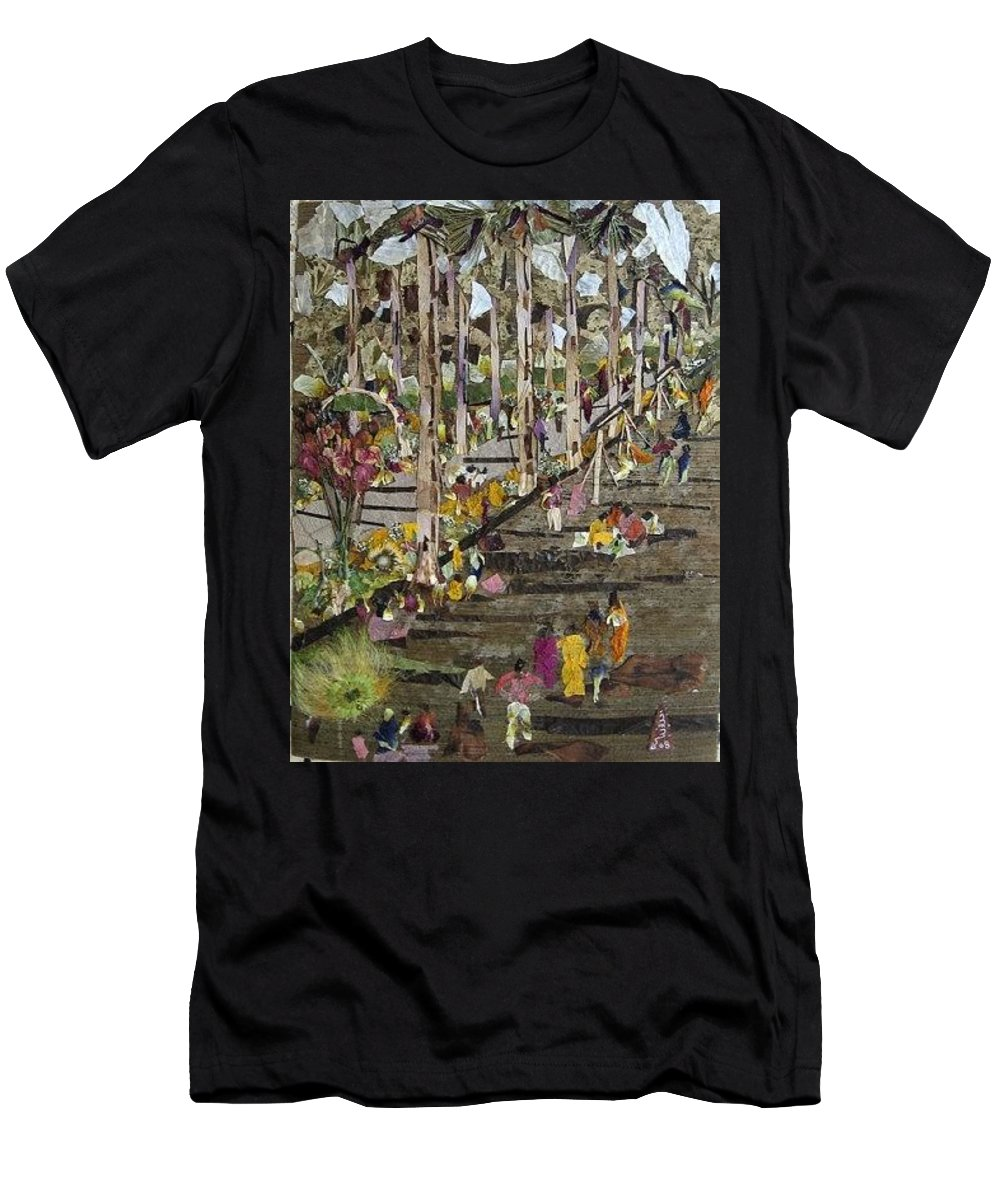 Garden Morning View Men's T-Shirt (Athletic Fit) featuring the mixed media Garden Picnic by Basant Soni