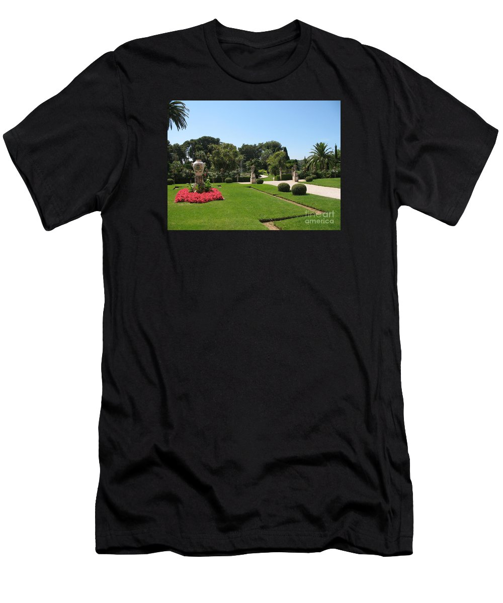 Amphora Men's T-Shirt (Athletic Fit) featuring the photograph Garden Villa Ephrussi by Christiane Schulze Art And Photography