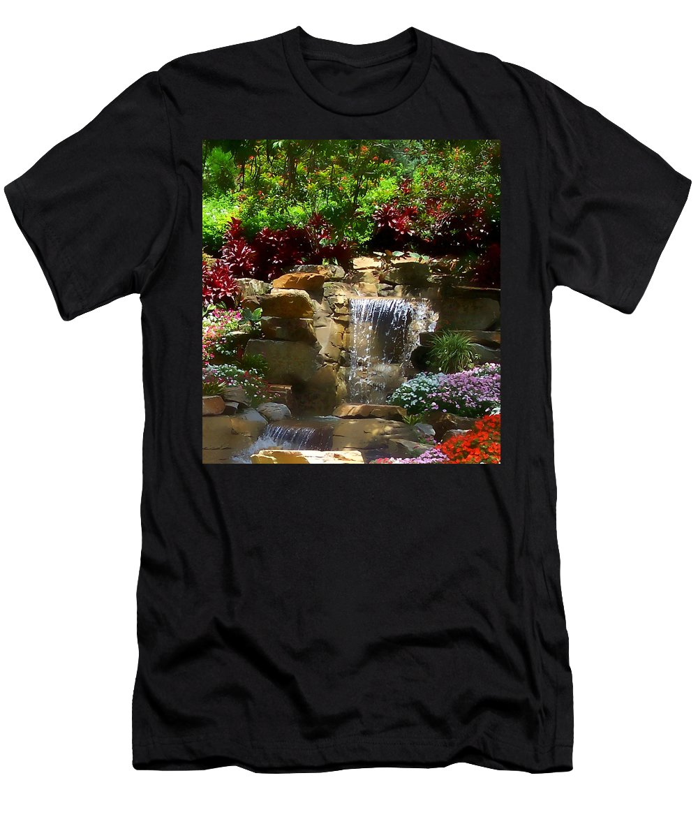 Garden Men's T-Shirt (Athletic Fit) featuring the photograph Garden Waterfalls by Pharris Art