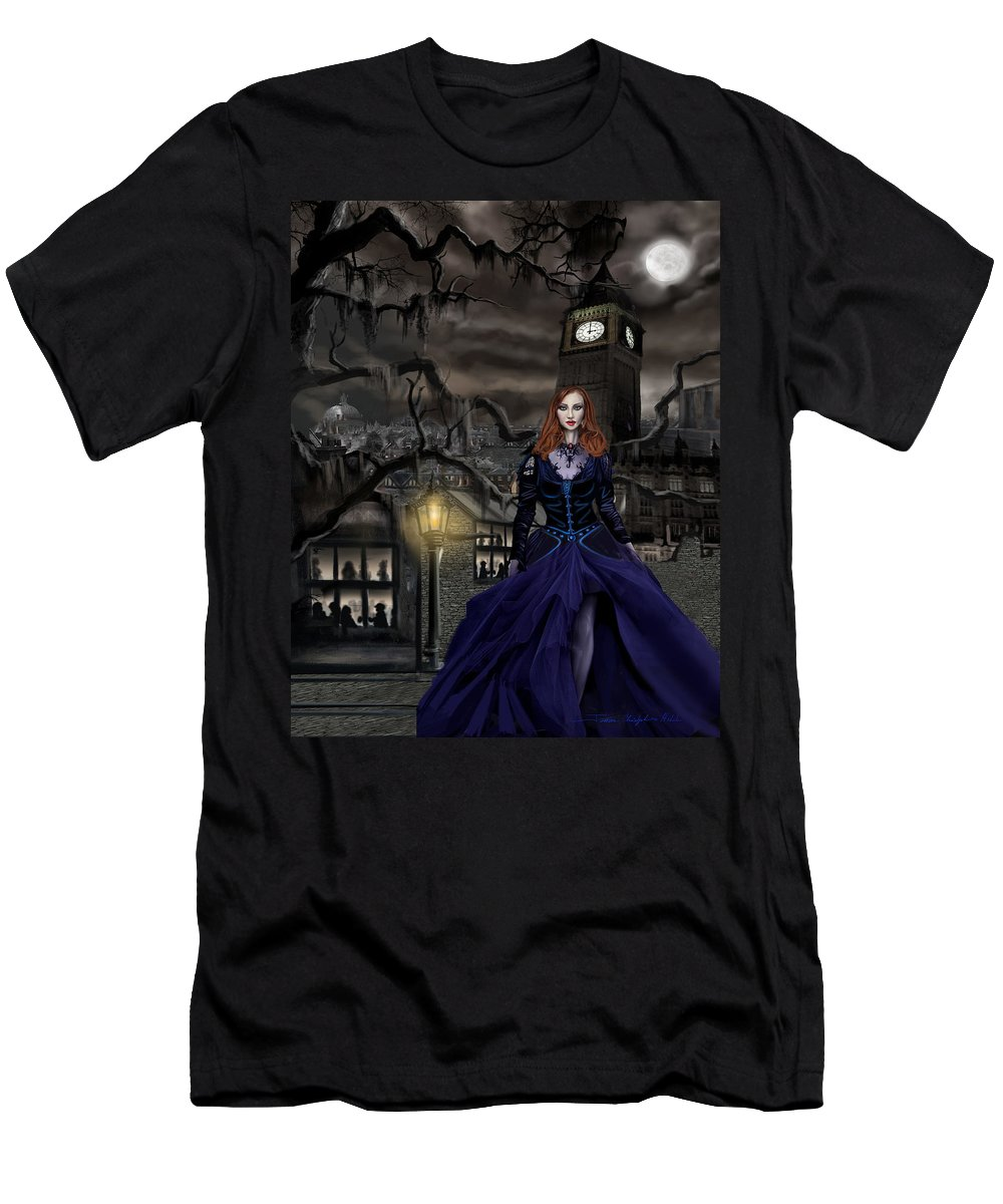 Fantasy T-Shirt featuring the painting Gaslight Fantasia Cover Redhead by James Christopher Hill