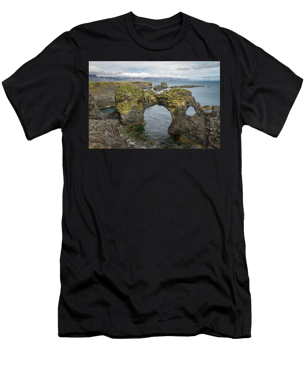 Iceland Men's T-Shirt (Athletic Fit) featuring the photograph Gatklettur Arch In Hellnar by For Ninety One Days
