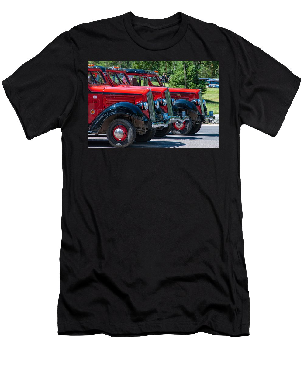 Glacier National Park Men's T-Shirt (Athletic Fit) featuring the photograph Gear Jammers by Steve Stuller
