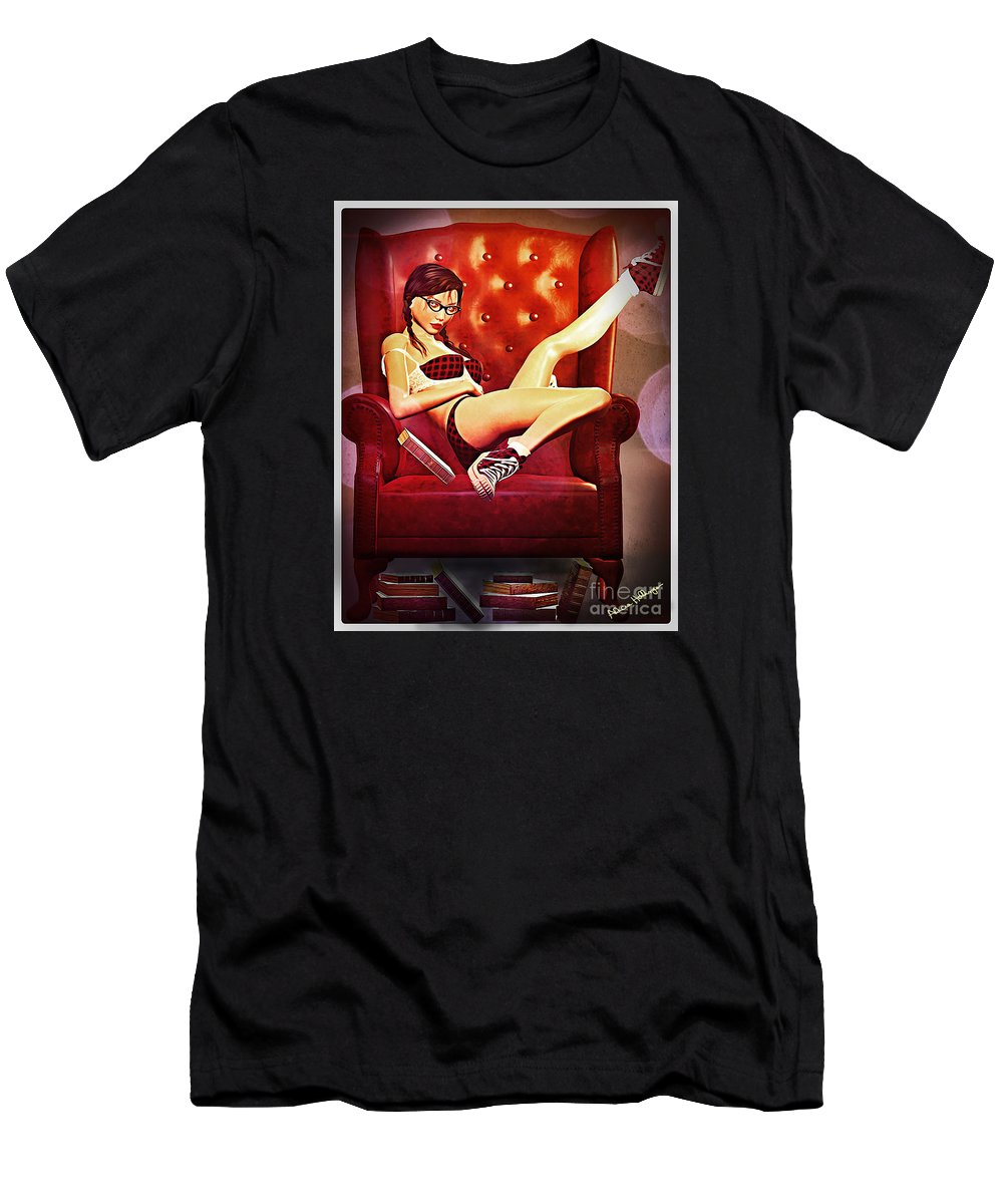 Pin-up Men's T-Shirt (Athletic Fit) featuring the digital art Geek Girl Pin-up by Alicia Hollinger