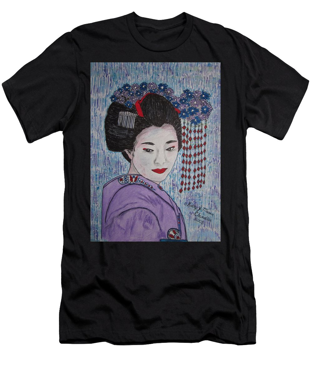 Oriental Men's T-Shirt (Athletic Fit) featuring the painting Geisha Girl by Kathy Marrs Chandler