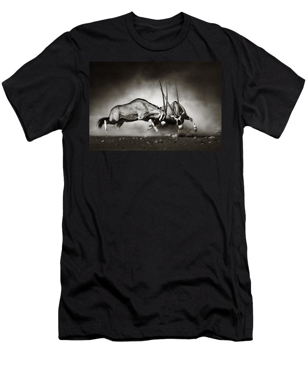 Gemsbok T-Shirt featuring the photograph Gemsbok fight by Johan Swanepoel