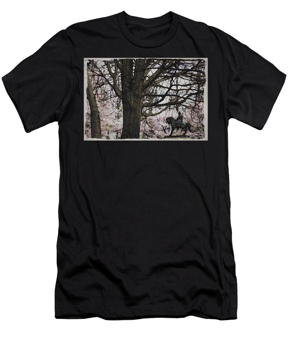 General Men's T-Shirt (Athletic Fit) featuring the photograph General Meade In The Cherry Blossoms by Alice Gipson