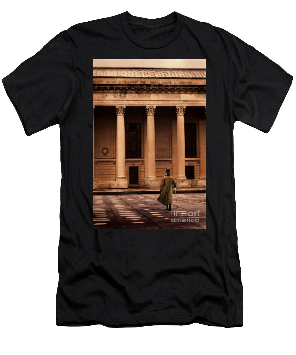 Young Men's T-Shirt (Athletic Fit) featuring the photograph Gentleman In 18th Century Clothing Walking by Jill Battaglia