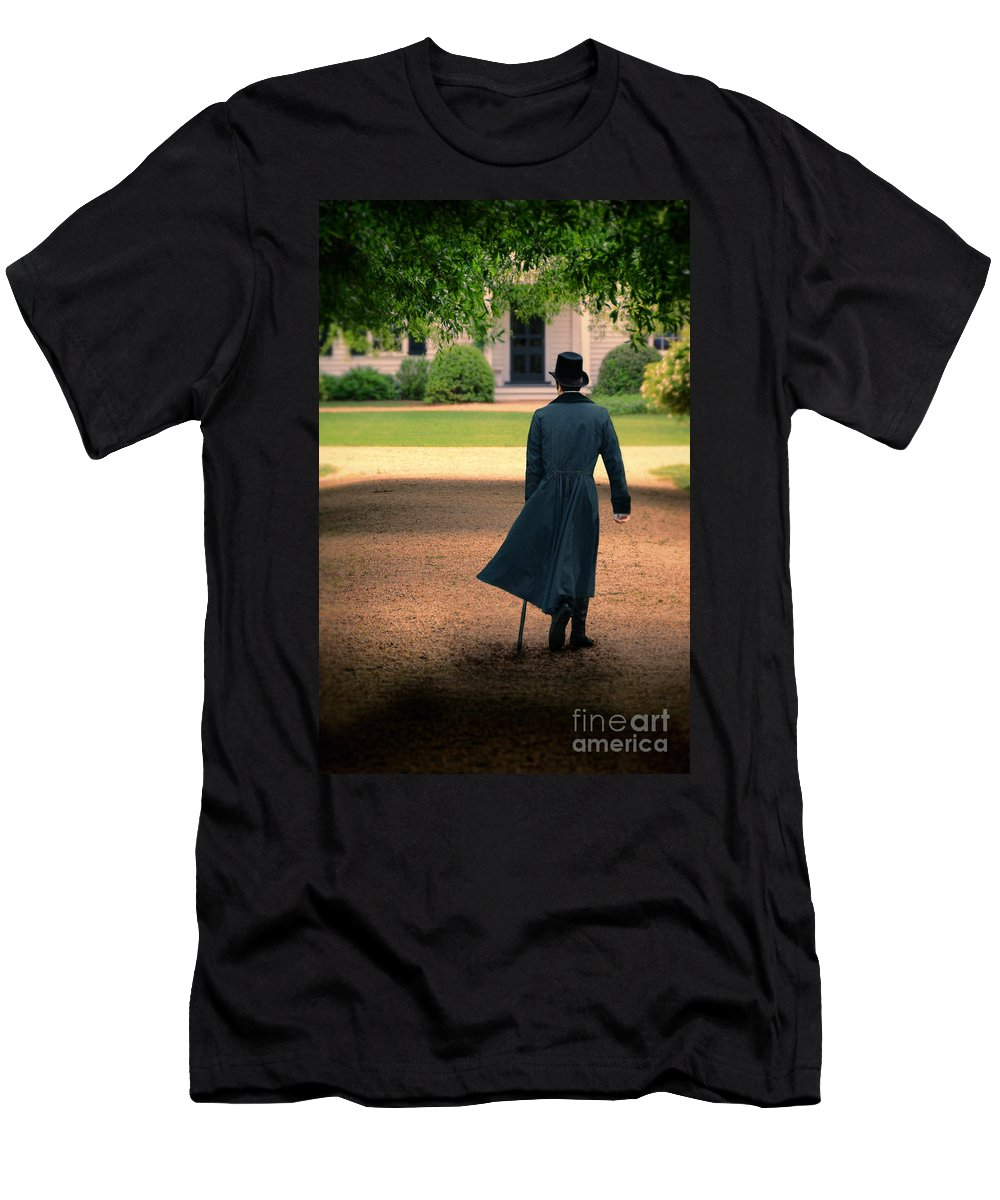 Young Men's T-Shirt (Athletic Fit) featuring the photograph Gentleman Walking Towards A House by Jill Battaglia