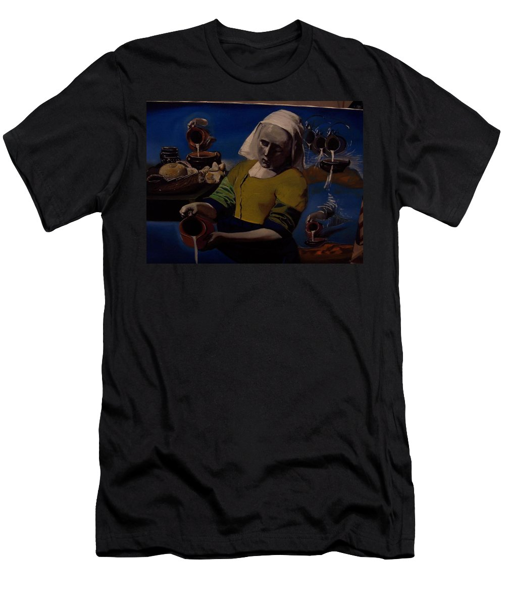 Men's T-Shirt (Athletic Fit) featuring the painting Geological Milk Maid Anthropomorphasized by Jude Darrien