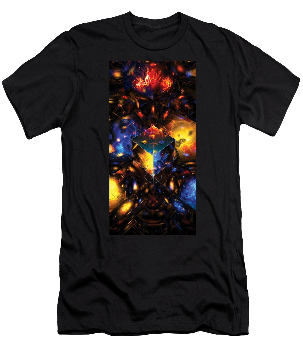 Abstract Men's T-Shirt (Athletic Fit) featuring the digital art Geometry Amid Chaos Lights by James Kramer