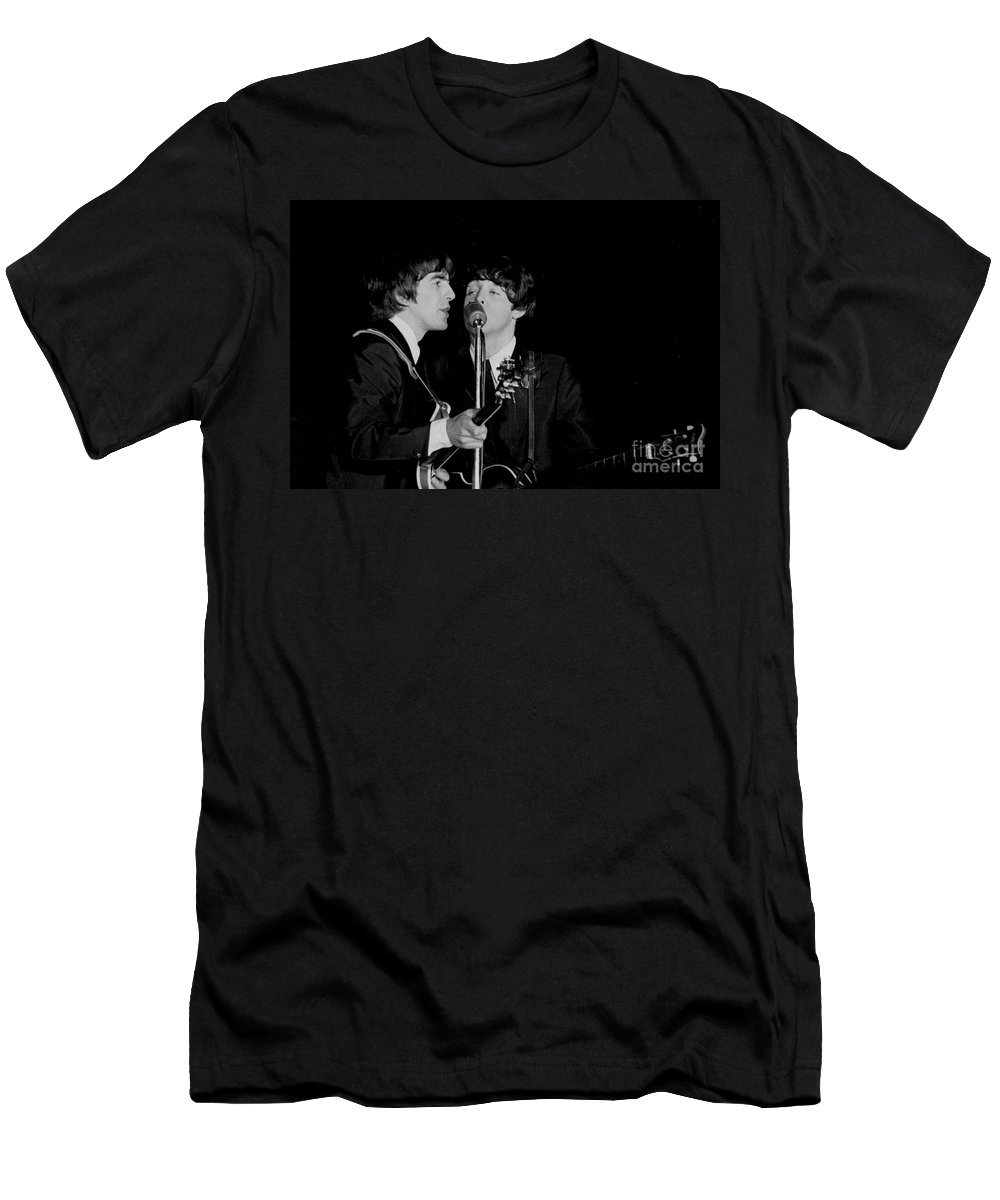 Beatles T-Shirt featuring the photograph George Harrison & Paul Mccartney by Larry Mulvehill