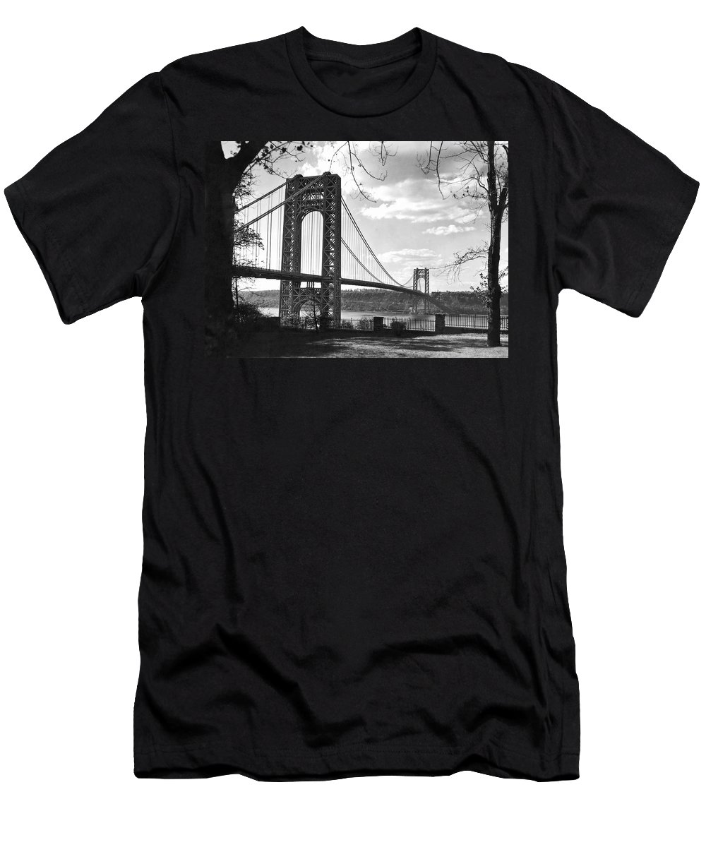 1930s Men's T-Shirt (Athletic Fit) featuring the photograph George Washington Bridge by Underwood Archives