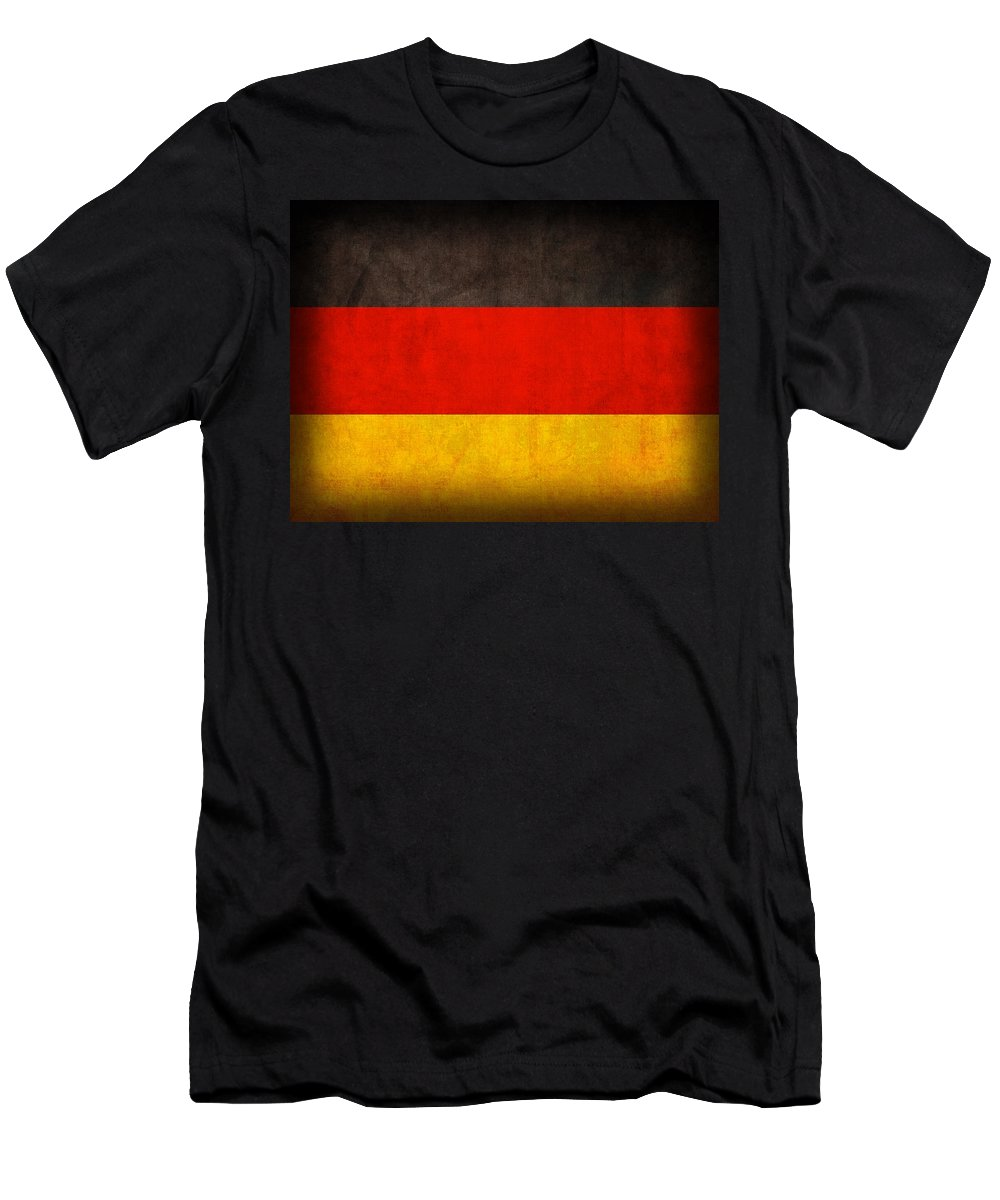 Germany Flag German Europe Dresden Hamburg Berlin Dusseldorf T-Shirt featuring the mixed media Germany Flag Vintage Distressed Finish by Design Turnpike