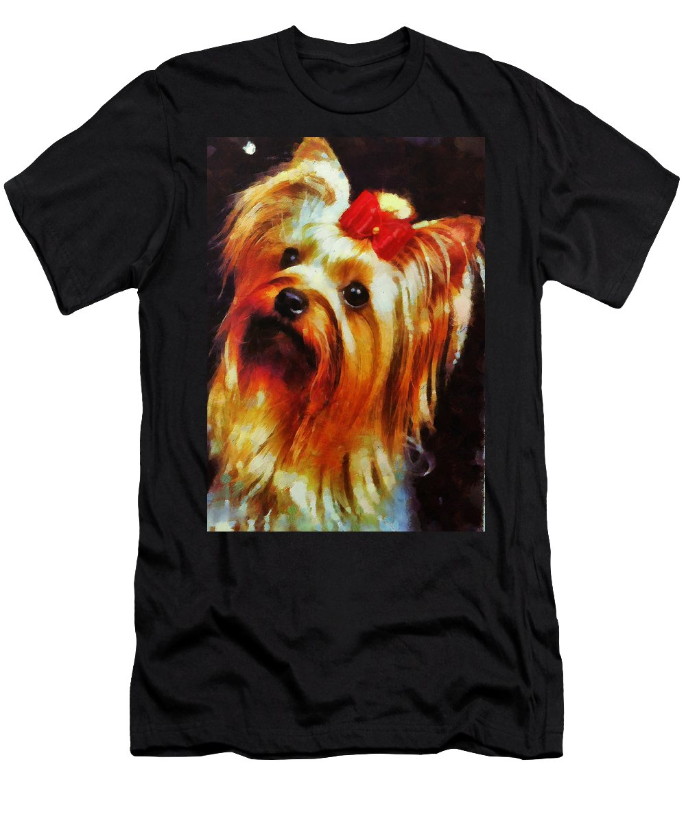 Yorkie Men's T-Shirt (Athletic Fit) featuring the painting Gertrude Roo by Janice MacLellan
