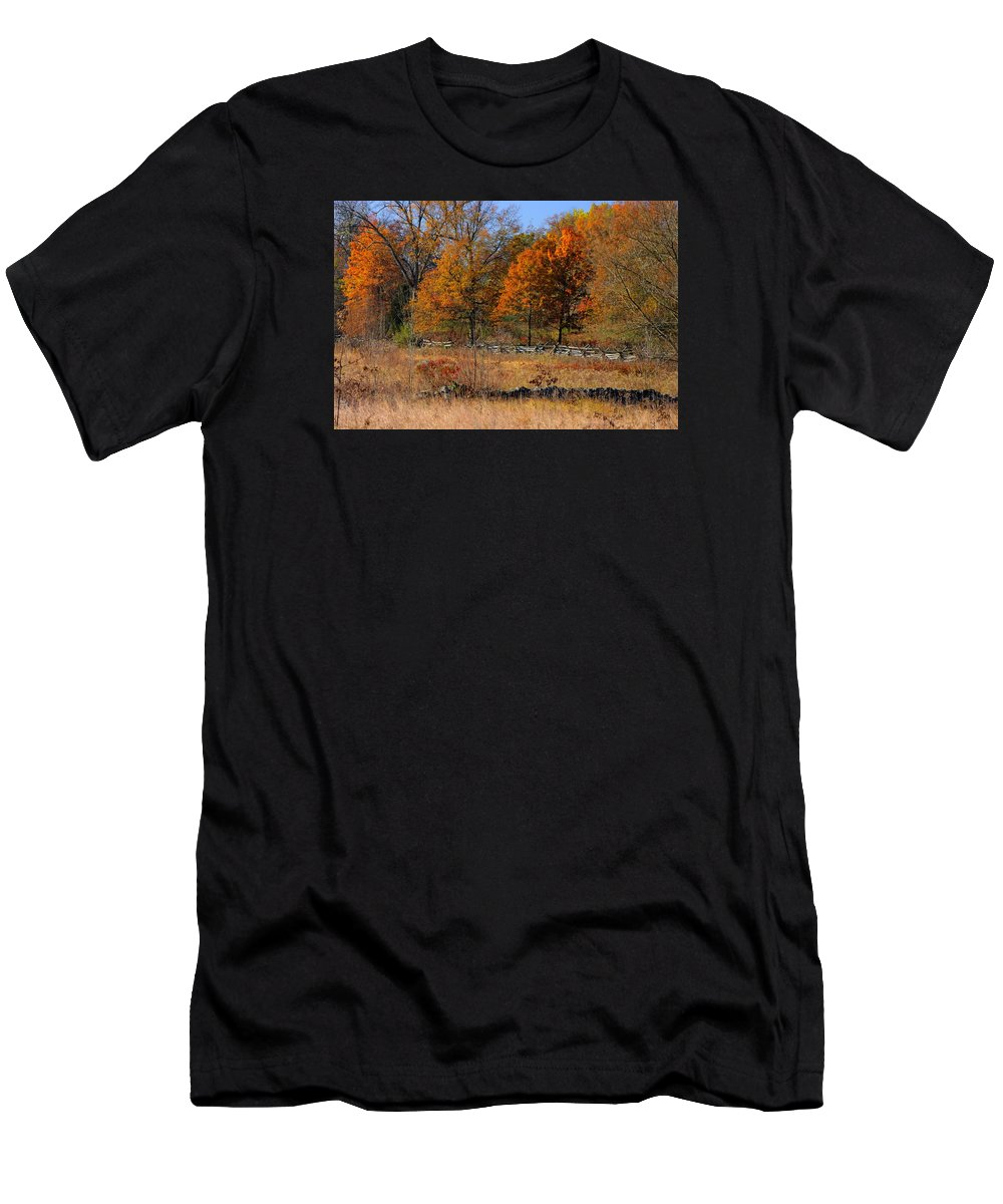 Gettysburg Men's T-Shirt (Athletic Fit) featuring the photograph Gettysburg At Rest - Autumn Looking Towards The J. Weikert Farm by Michael Mazaika
