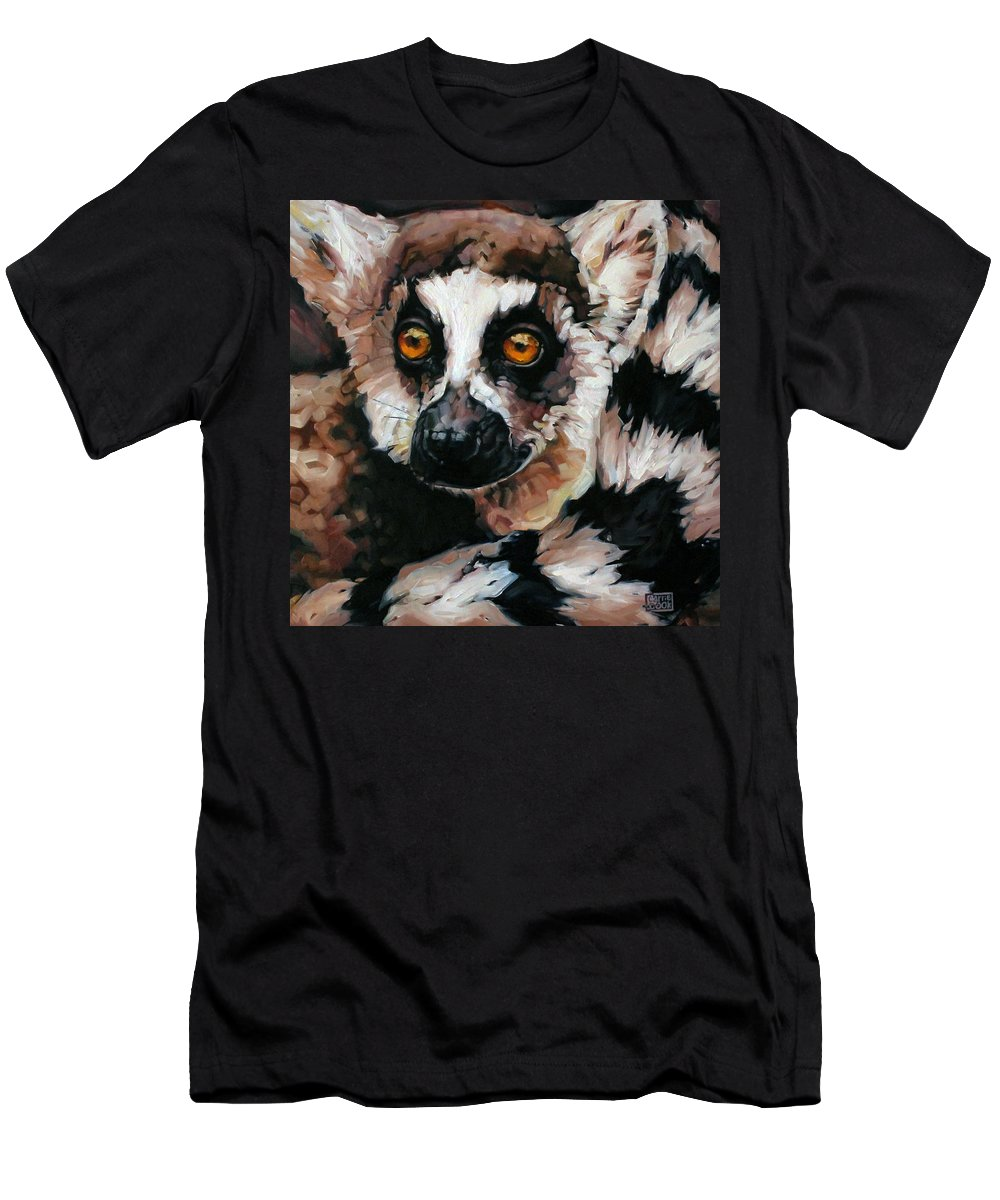 Animals. Lemur Men's T-Shirt (Athletic Fit) featuring the painting Ghost Of Madagascar by Carrie Cook