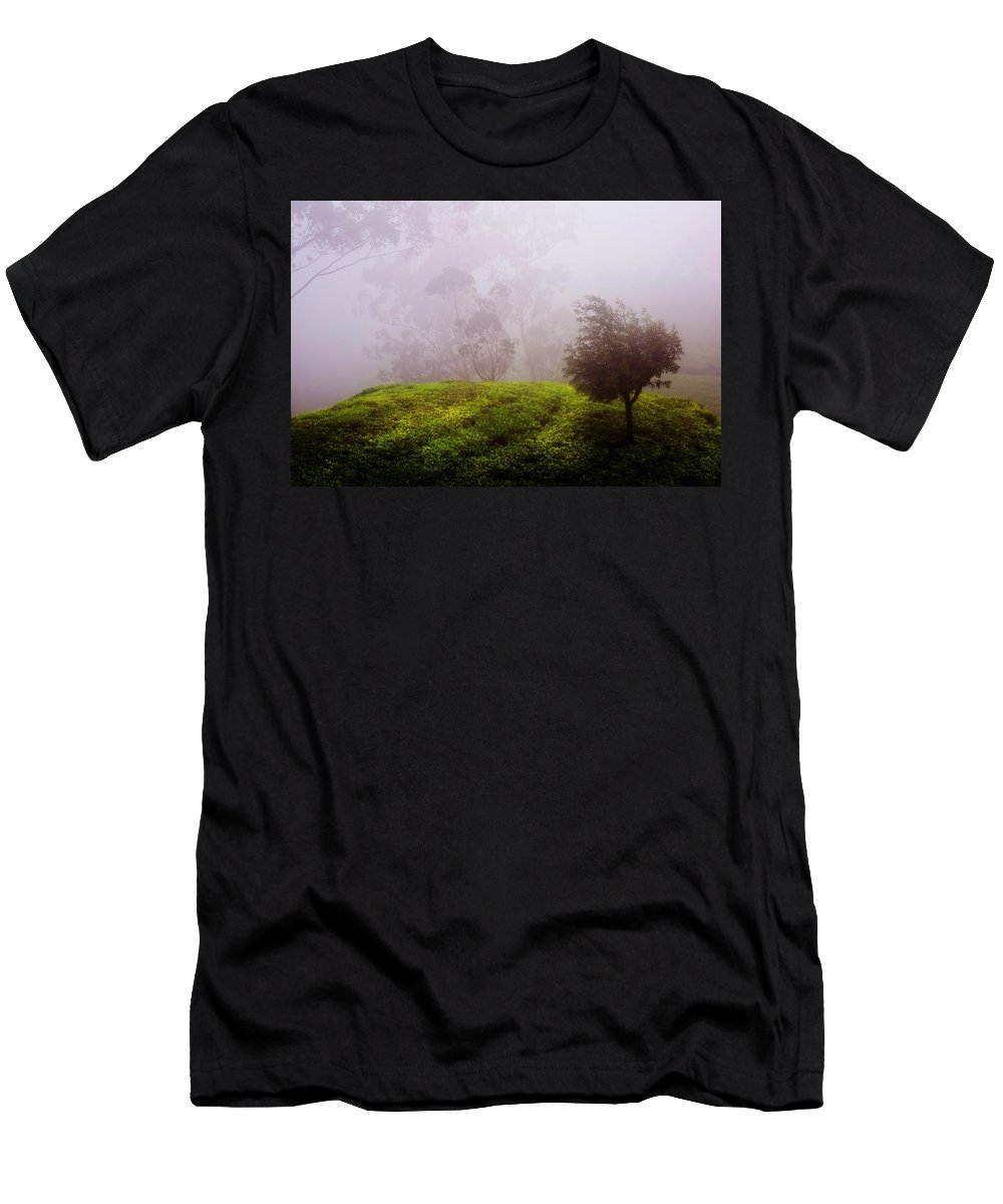 Enny Rainbow Fine Art Photography Men's T-Shirt (Athletic Fit) featuring the photograph Ghost Tree In The Haunted Forest. Nuwara Eliya. Sri Lanka by Jenny Rainbow