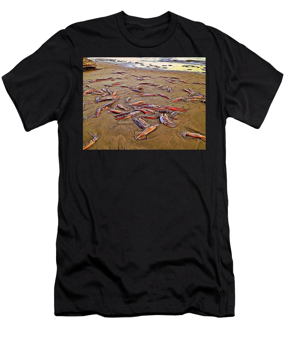 Squid Men's T-Shirt (Athletic Fit) featuring the photograph Giant Squid Capitola Beach by Antonia Citrino
