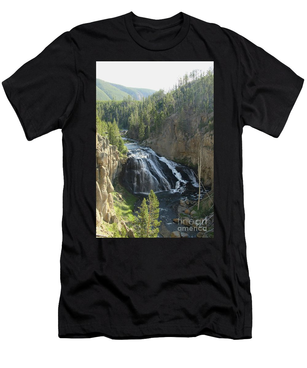 Gibbon Falls Men's T-Shirt (Athletic Fit) featuring the photograph Gibbon River And Falls by Christiane Schulze Art And Photography