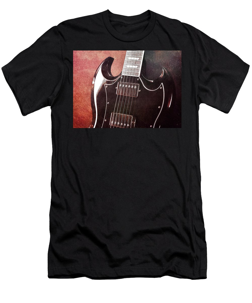 Guitar Men's T-Shirt (Athletic Fit) featuring the photograph Gibson Sg Standard Red Grunge by John Cardamone