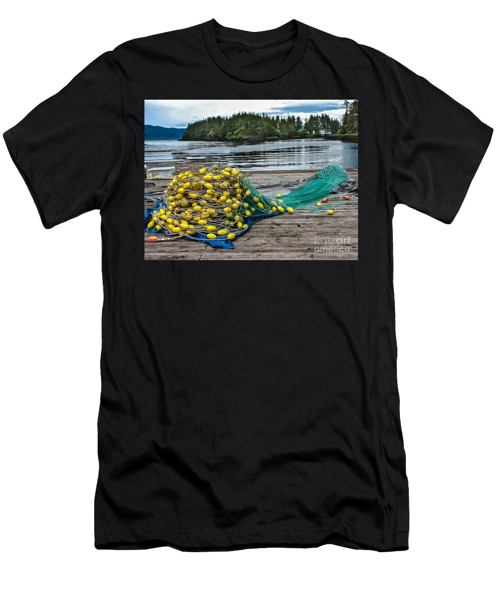 Gillnetting Men's T-Shirt (Athletic Fit) featuring the photograph Gill Net by Robert Bales