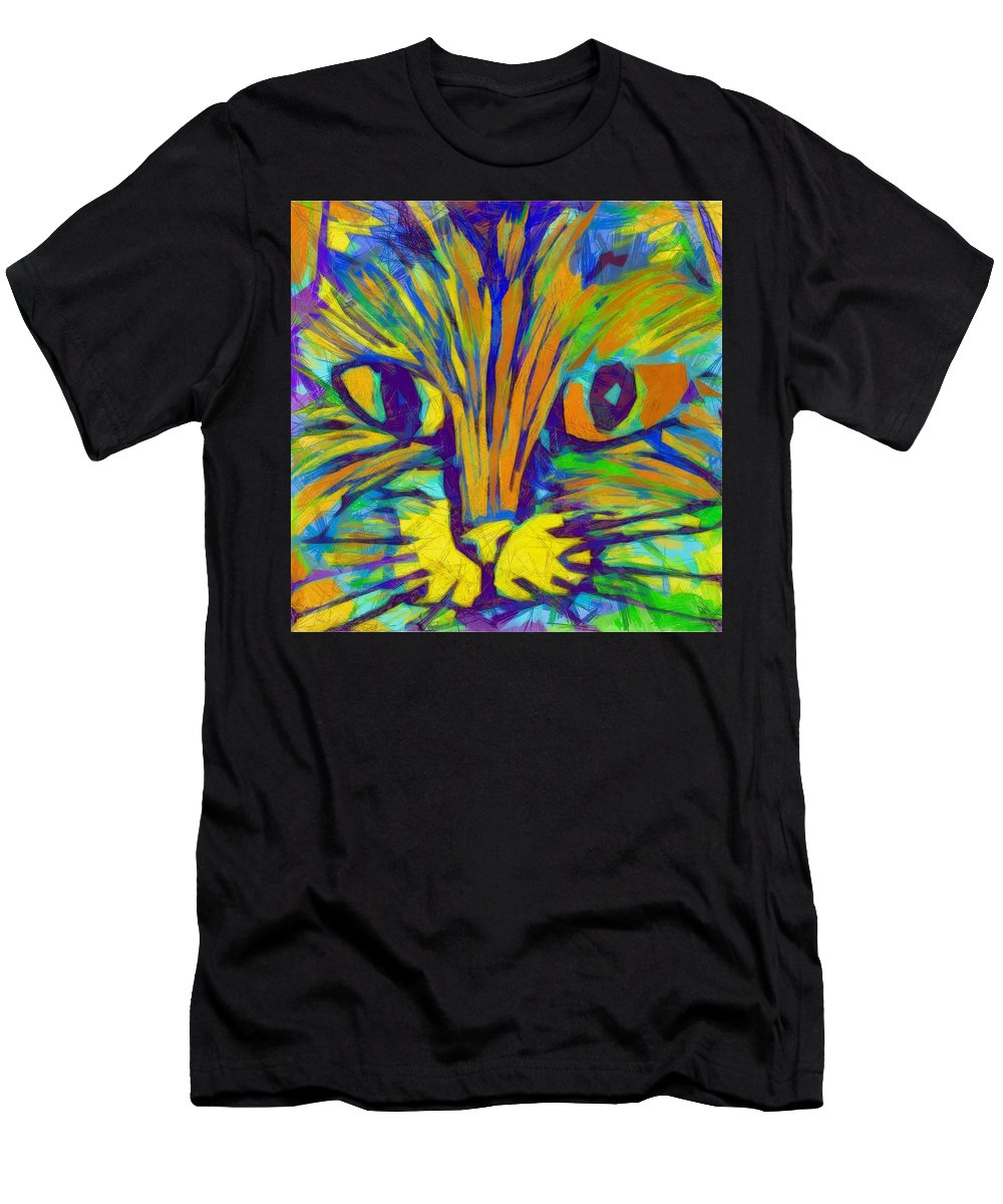 Modern Men's T-Shirt (Athletic Fit) featuring the digital art Ginger Kitty by Michelle Calkins