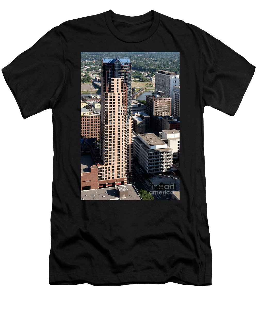 Aerial Men's T-Shirt (Athletic Fit) featuring the photograph Glatier Plaza St. Paul Minnesota by Bill Cobb