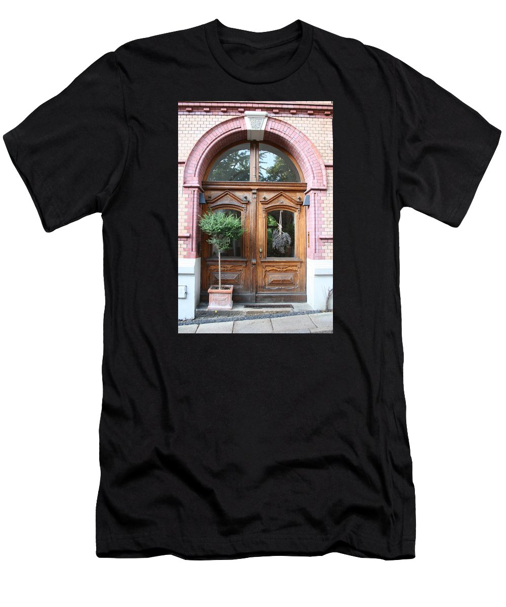 Door Men's T-Shirt (Athletic Fit) featuring the photograph Glazed Door by Christiane Schulze Art And Photography