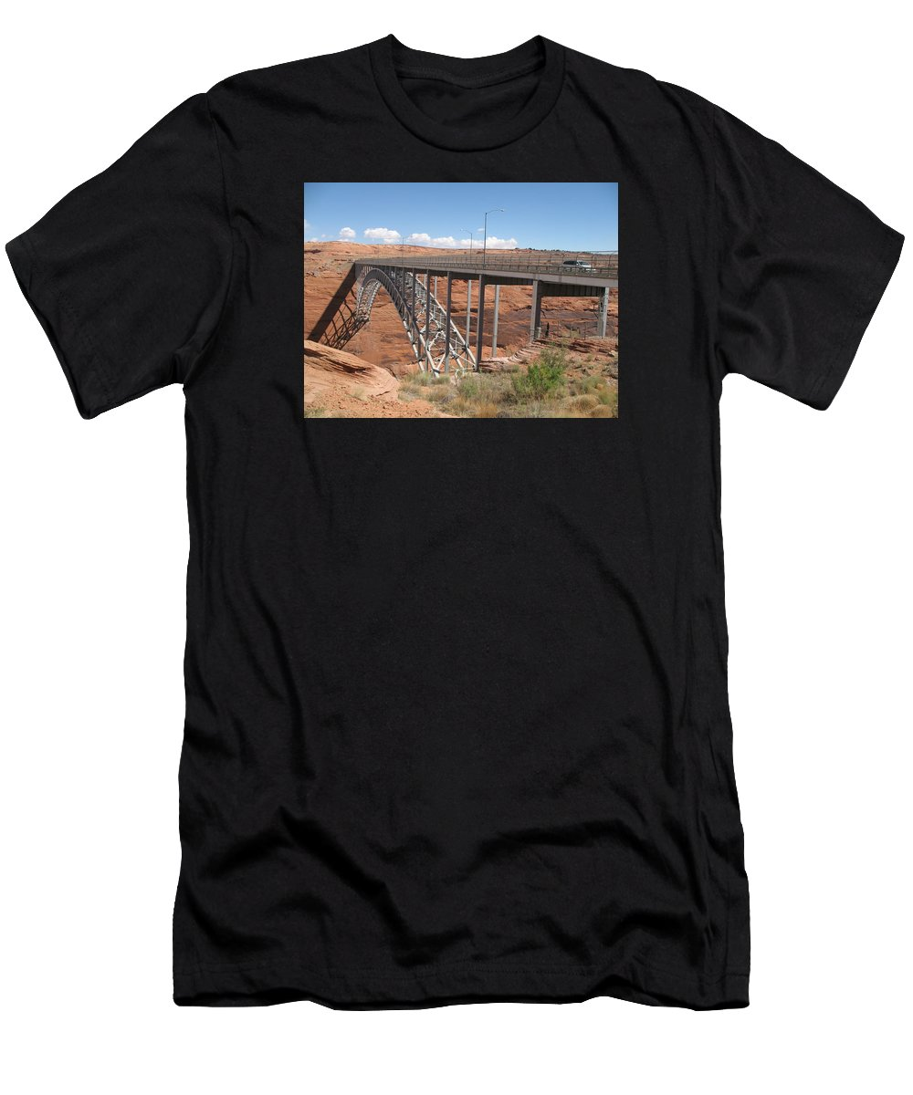 Steel Arch Bridge Men's T-Shirt (Athletic Fit) featuring the photograph Glen Canyon Bridge by Christiane Schulze Art And Photography