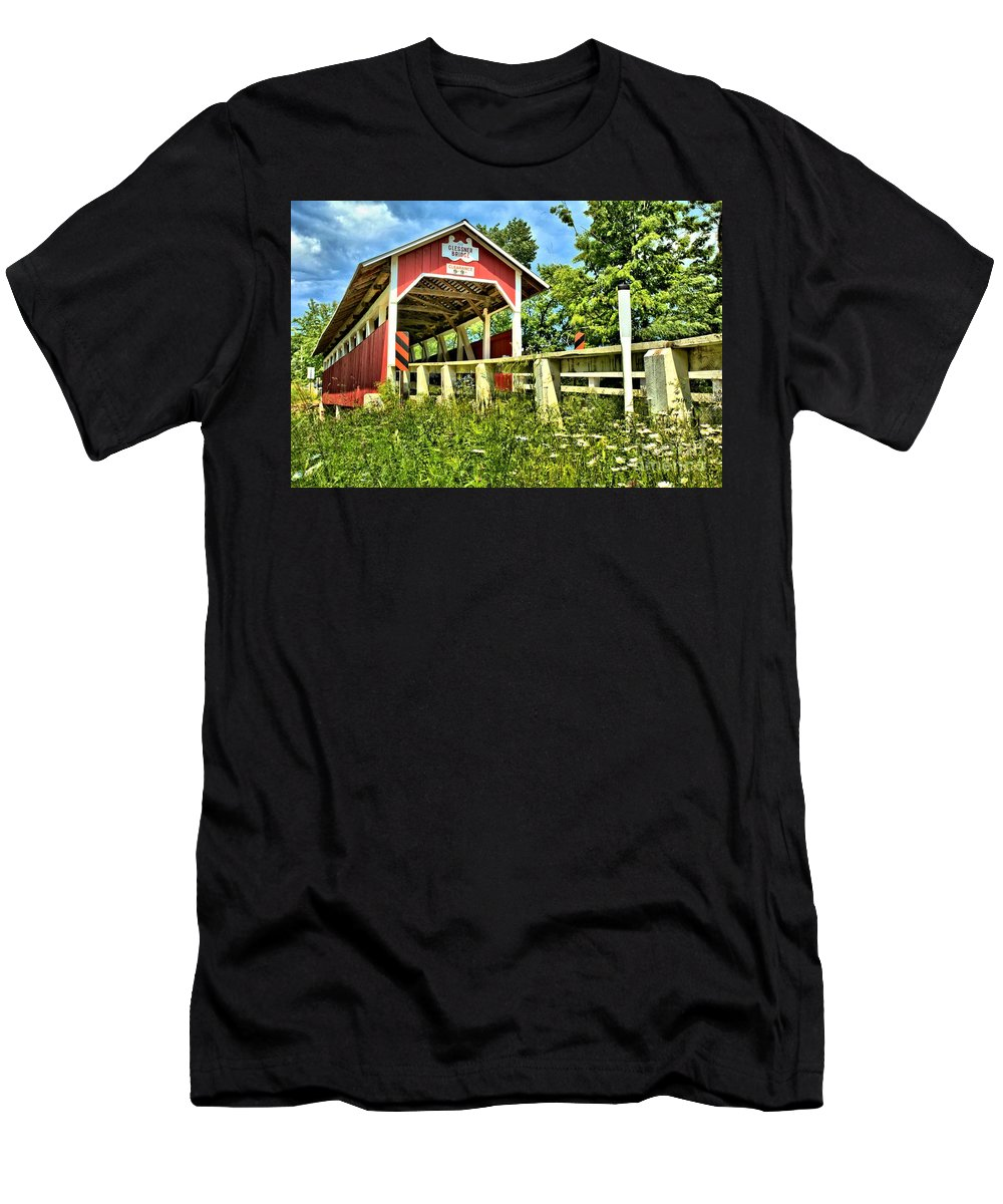 Covered Bridge Men's T-Shirt (Athletic Fit) featuring the photograph Glessner Wooden Bridge by Adam Jewell