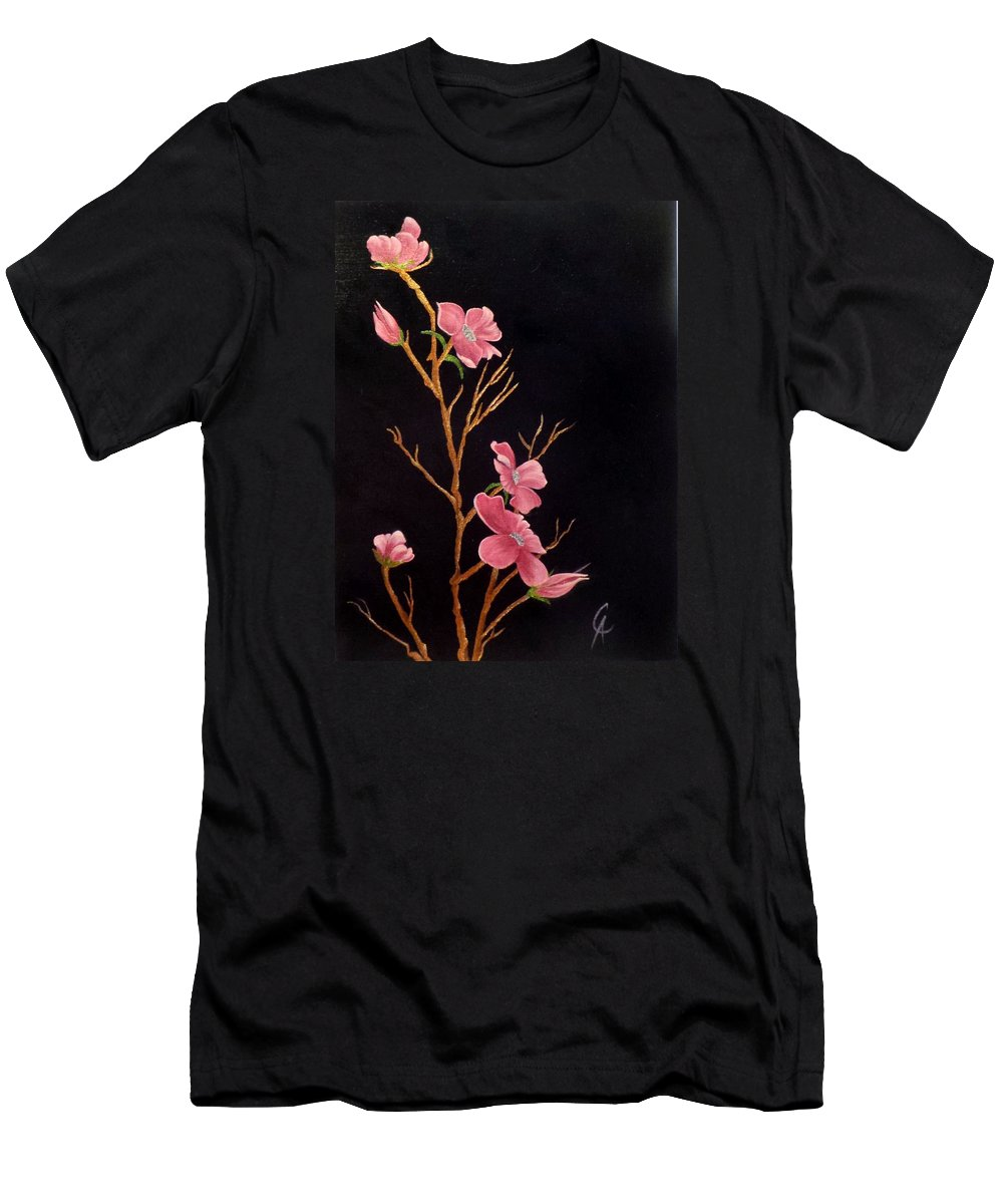 Glistening Men's T-Shirt (Athletic Fit) featuring the painting Glistening Blossoms by Carol Avants