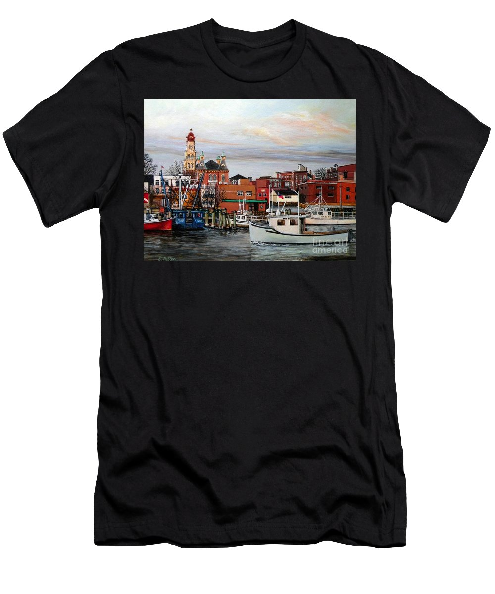 Gloucester Men's T-Shirt (Athletic Fit) featuring the painting Gloucester Harbor by Eileen Patten Oliver