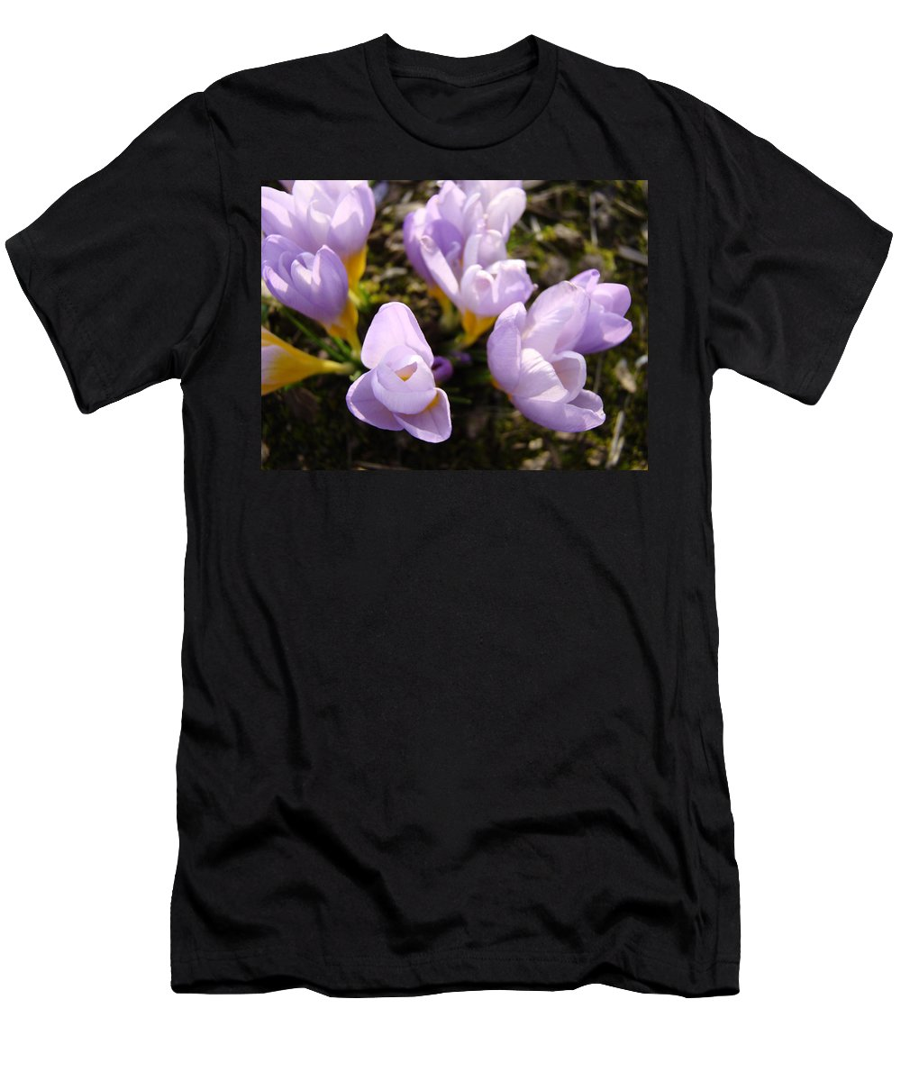 Glow Men's T-Shirt (Athletic Fit) featuring the photograph Glowing Floral Art Prints Crocus Flowers by Baslee Troutman