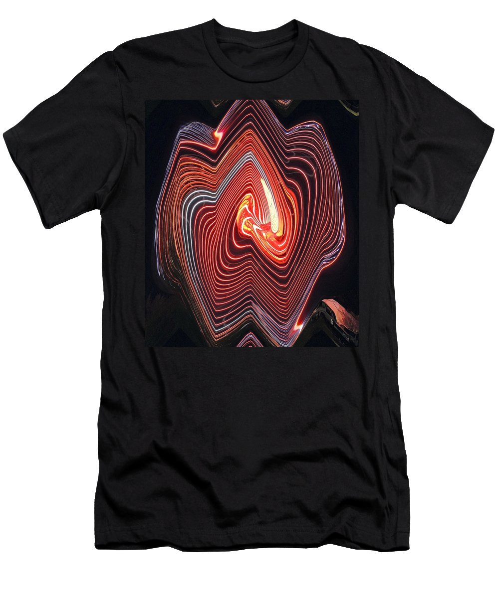 Digital Art Men's T-Shirt (Athletic Fit) featuring the photograph Glowing Lines by Marian Bell