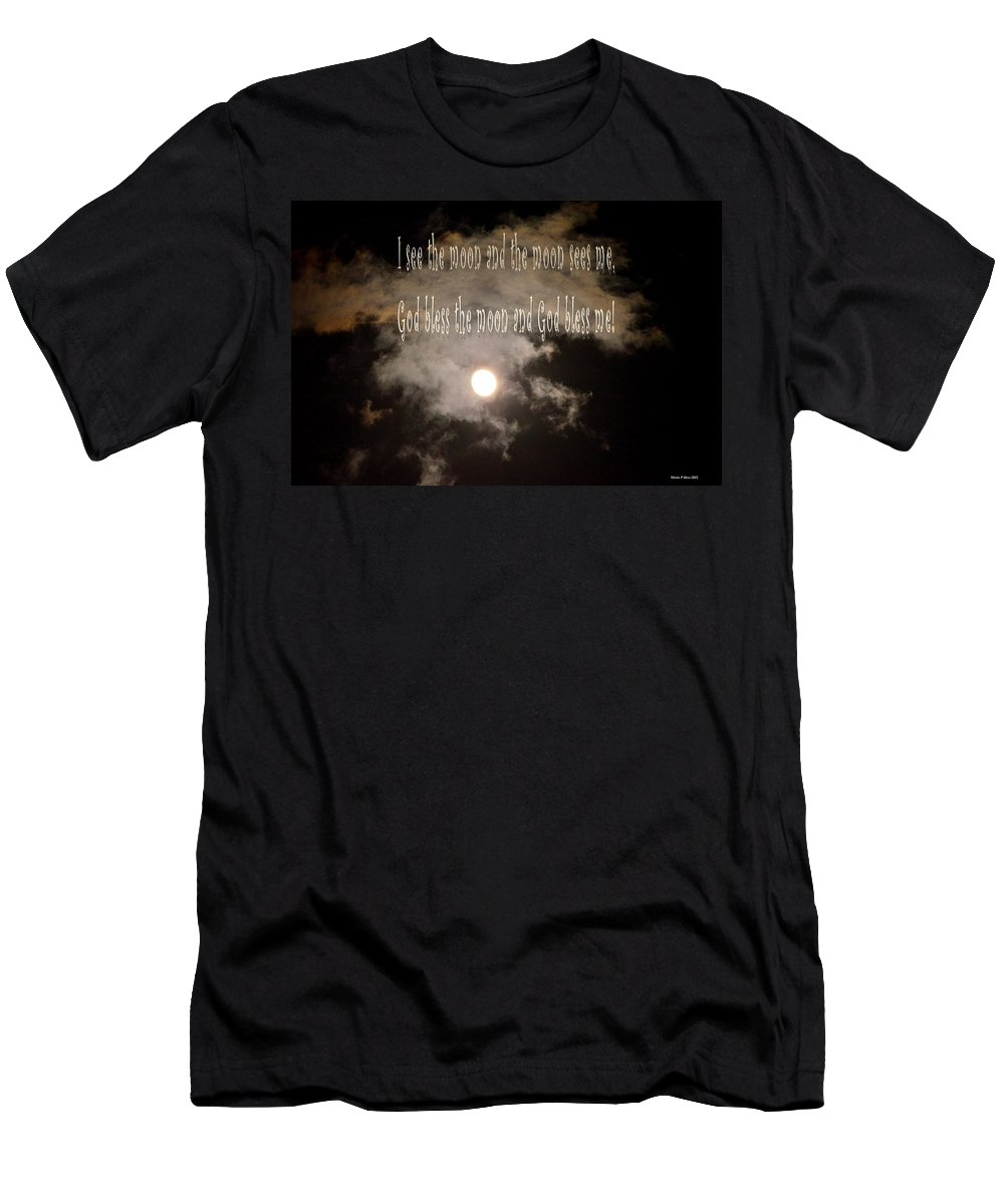 God Bless The Moon Men's T-Shirt (Athletic Fit) featuring the digital art God Bless The Moon by Maria Urso
