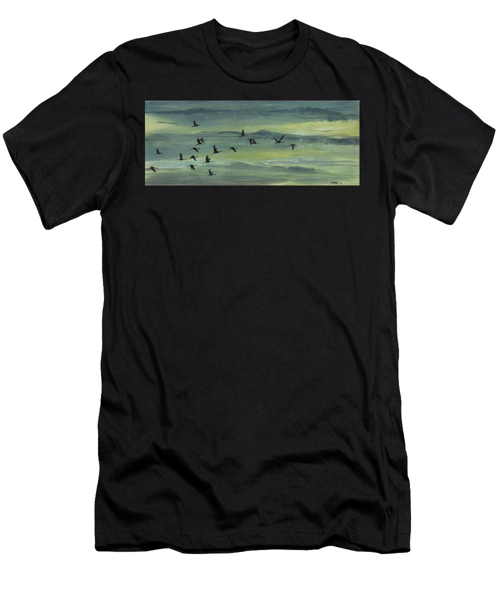 Cranes Men's T-Shirt (Athletic Fit) featuring the painting Going Home by Arie Van der Wijst