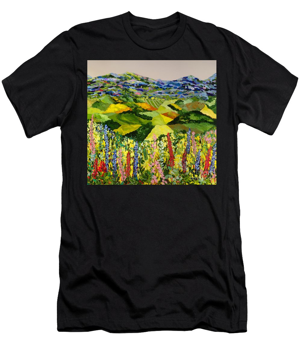 Landscape Men's T-Shirt (Athletic Fit) featuring the painting Going Wild by Allan P Friedlander