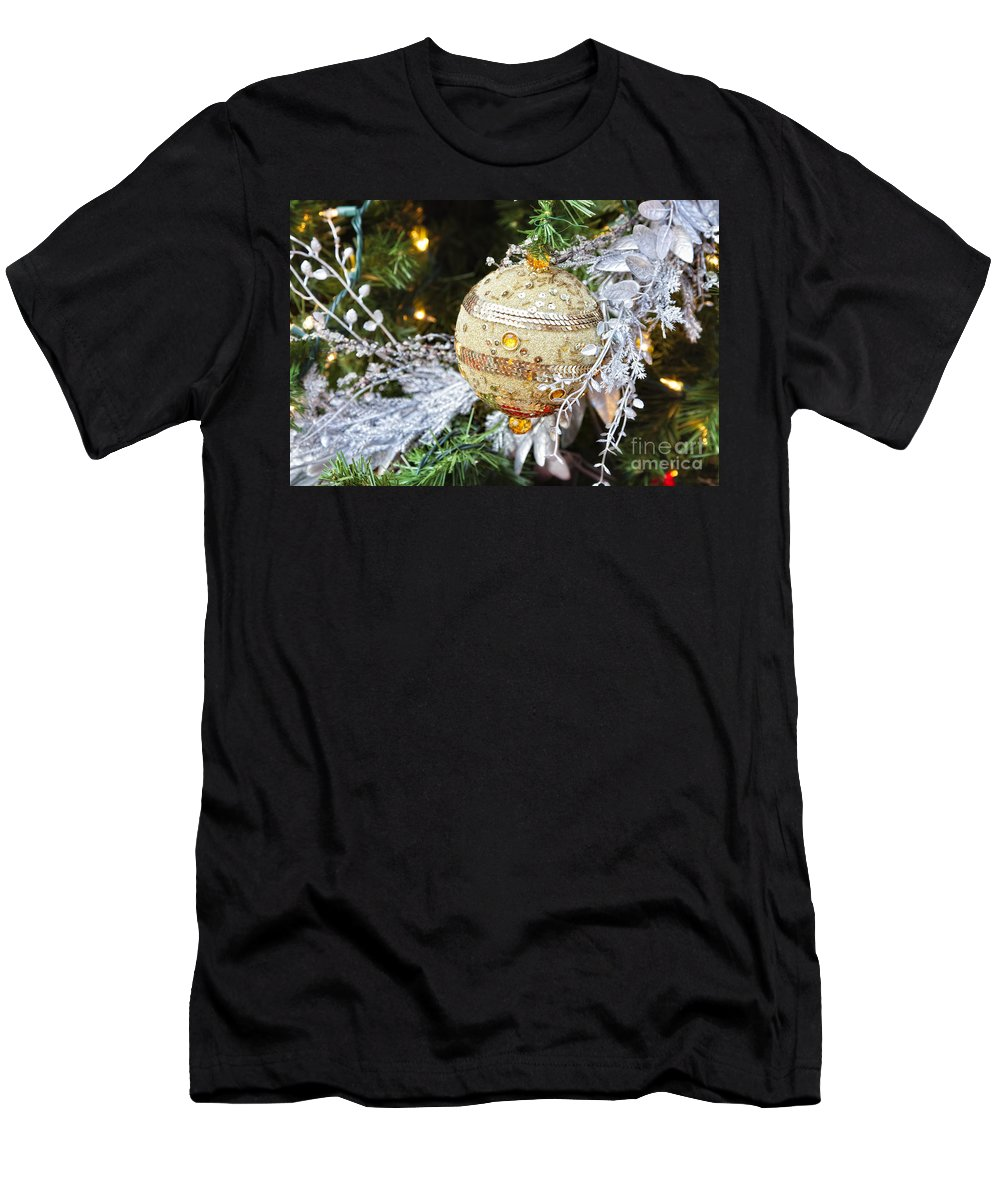 Christmas Men's T-Shirt (Athletic Fit) featuring the photograph Gold Ornament by Timothy Hacker