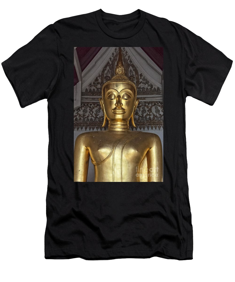 Buddhism Men's T-Shirt (Athletic Fit) featuring the photograph Golden Buddha Temple Statue by Antony McAulay