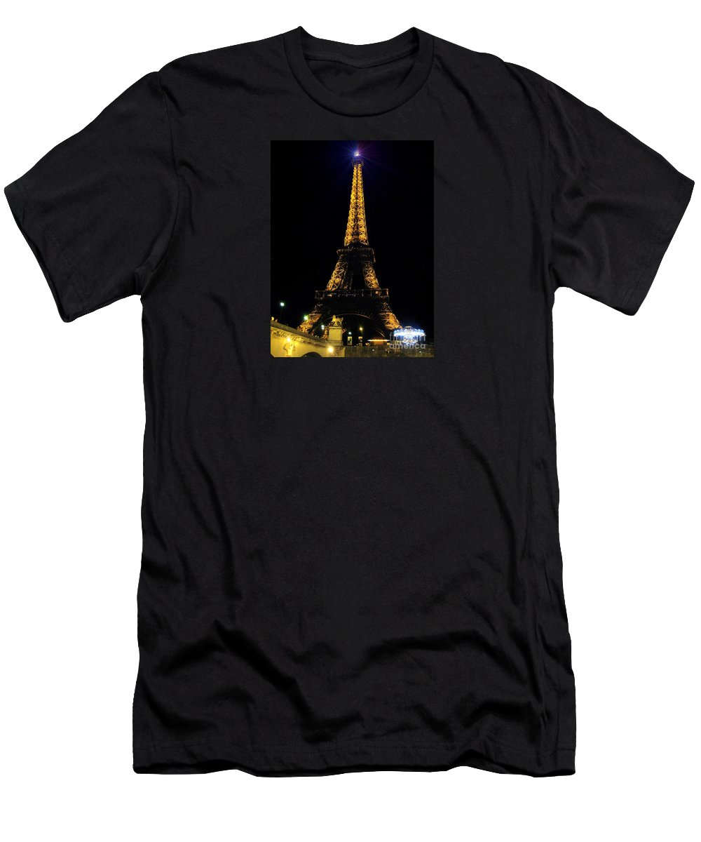 Art Photography By Frederick Luff Men's T-Shirt (Athletic Fit) featuring the photograph Golden Eiffel Tower by Europe Travel Gallery
