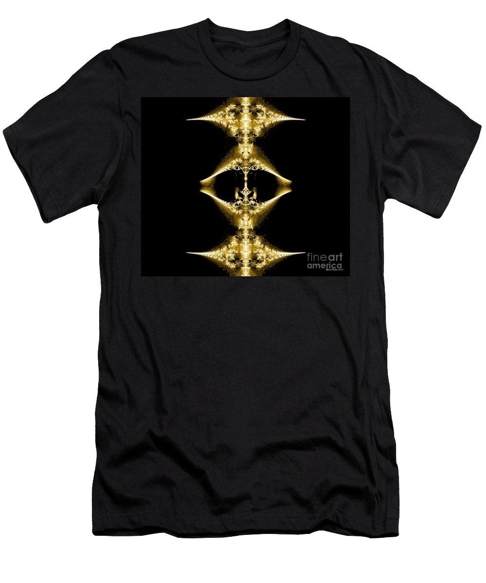 Golden Fractal Men's T-Shirt (Athletic Fit) featuring the digital art Golden Fractal by Maria Urso