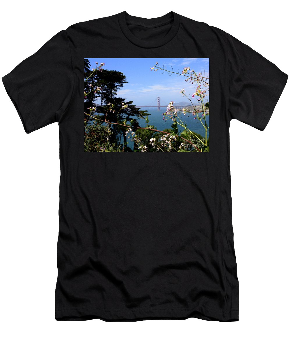 San Francisco Men's T-Shirt (Athletic Fit) featuring the photograph Golden Gate Bridge And Wildflowers by Carol Groenen