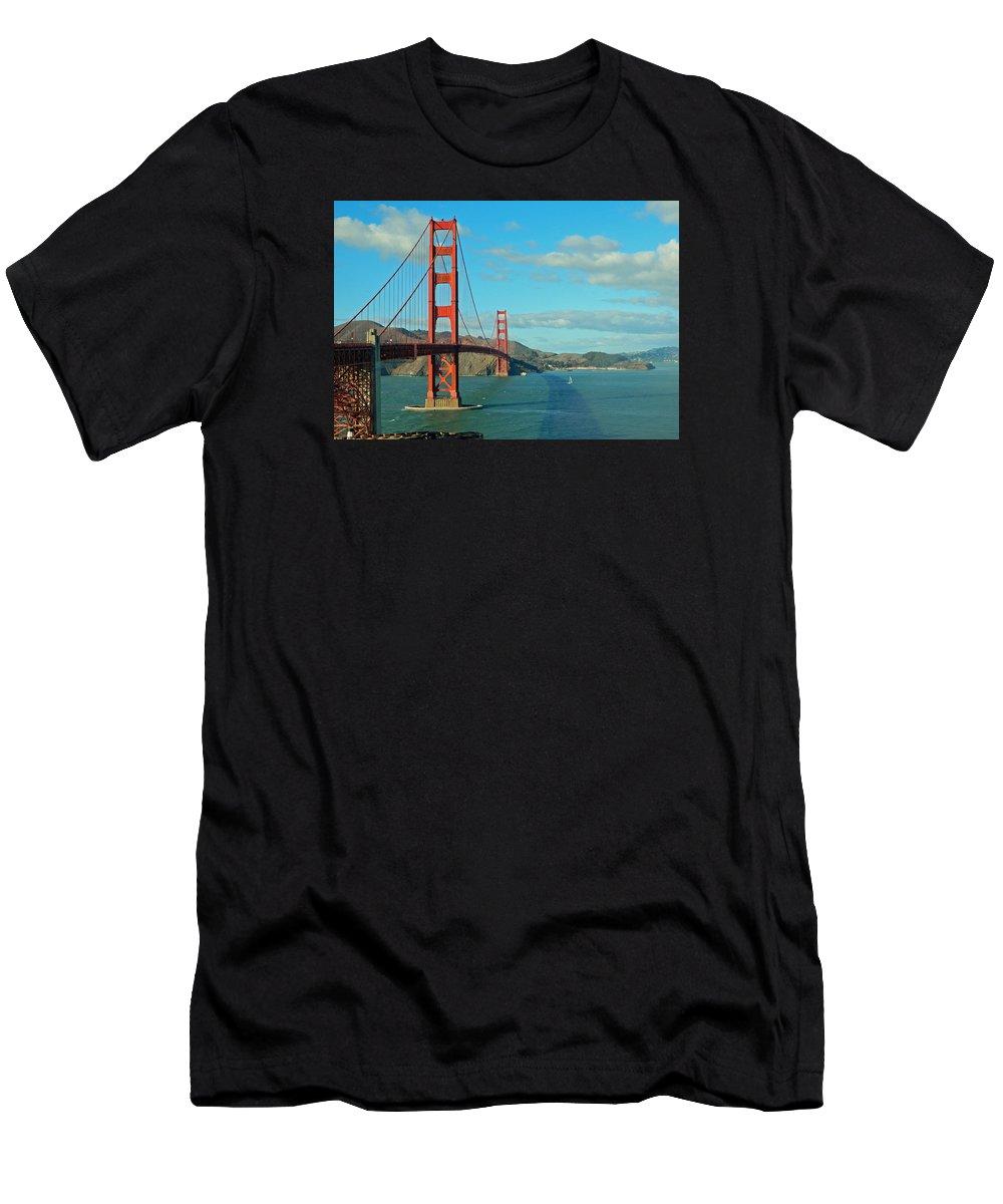Golden Gate Bridge Men's T-Shirt (Athletic Fit) featuring the photograph Golden Gate Bridge by Emmy Marie Vickers
