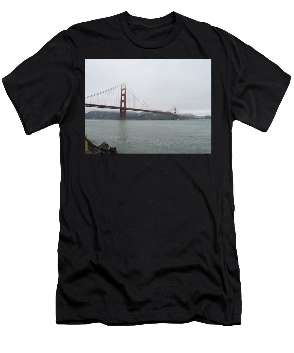 Bridge Men's T-Shirt (Athletic Fit) featuring the photograph Golden Gate In Fog by Christiane Schulze Art And Photography