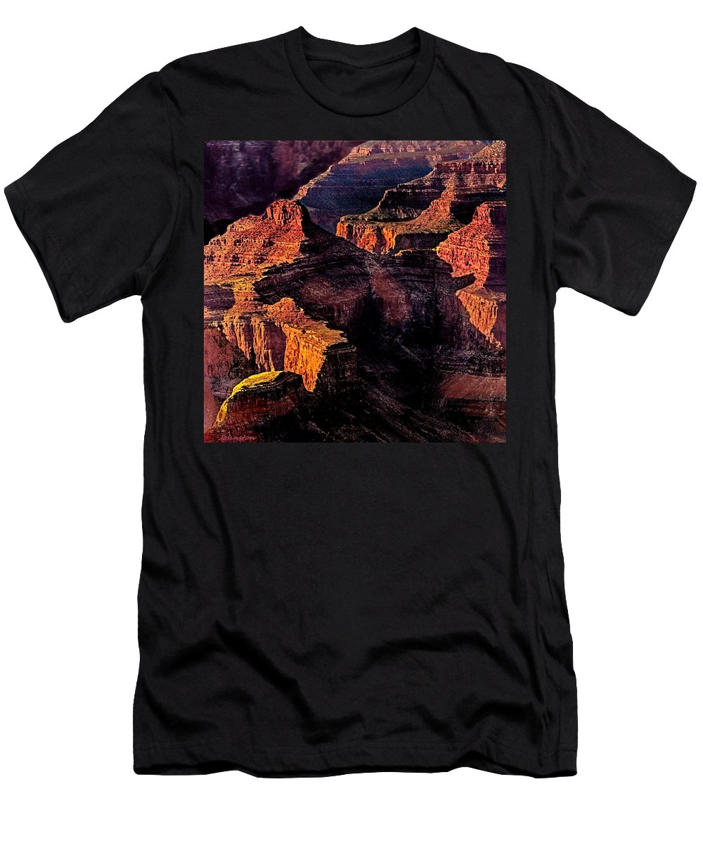 Amazing Men's T-Shirt (Athletic Fit) featuring the photograph Golden Hour Mather Point Grand Canyon National Park by Bob and Nadine Johnston